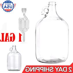 1 Gallon Glass Jug with Cap Lid One Vintage Jar Milk Water W