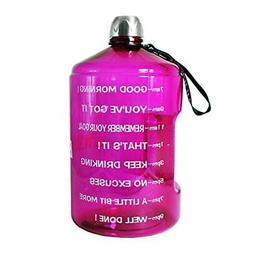 1 Gallon Hydration Bottle Daily Water Tracker-Time Marked to