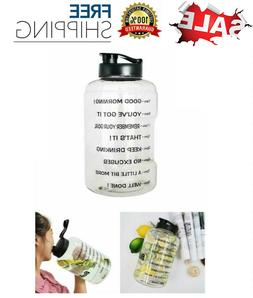 BuildLife 1 Gallon Water Bottle Motivational Time Fitness Wo