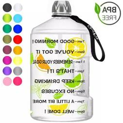 1 Gallon Water Bottle with Motivational Time Marker Large Ca