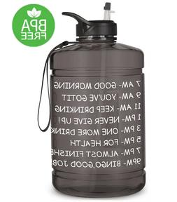 1 Gallon Water Bottle with Time Marker Straw & Handle BPA Fr