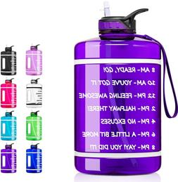 1 Gallon Water Bottle With Time Marker  Straw - 128 Oz Bpa F