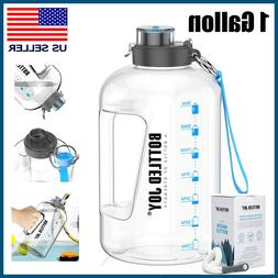 1 Gallon Water Bottle with Time Marker Big Jug for Gym Worko