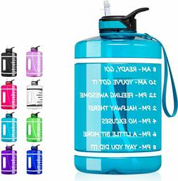 1 Gallon Water Bottle with Time Marker & Straw - 128 oz BPA