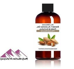 100% PURE ORGANIC SWEET ALMOND OIL COLD PRESSED REFINED 2 oz