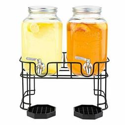 2 Pack Gallon Glass Beverage Dispenser with Metal Stand and