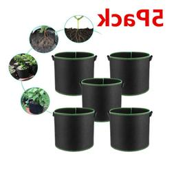 5-Pack 1/2/3/5/7 Gallon Grow Bags /Aeration Fabric Pots w/Ha
