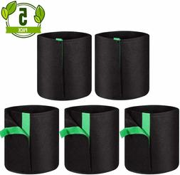 WOHOUS 5 Pack 1 Gal Plant Grow Bags Heavy Duty Aeration Fabr