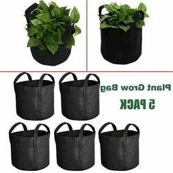 5 Pack Grow Bags Fabric Pots Root Pouch w/ Handles Planting