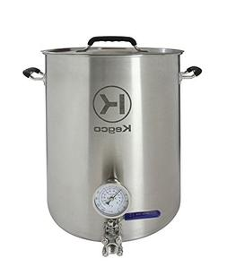 Kegco 10 Gallon Brew Kettle with Thermometer & 3-Piece Ball