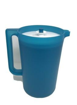 Tupperware Classic 1 Gallon BLUE Pitcher with WHITE LID Push