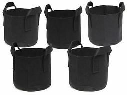 247Garden 5 Pack 1 Gallon Grow Bags Aeration Fabric Pots wt