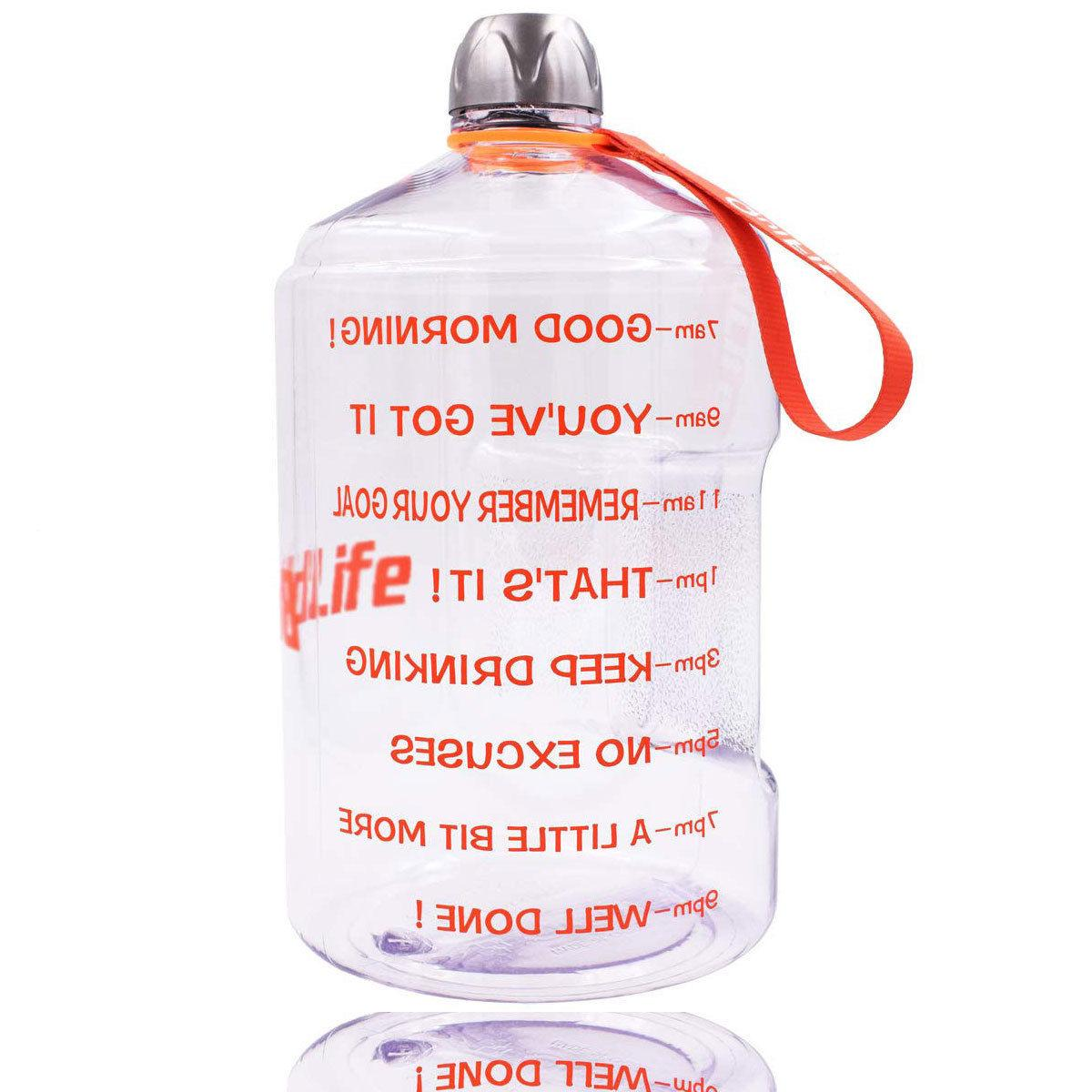 1 Gallon Bottle Motivational Fitness Workout Time Marker BPA-Free