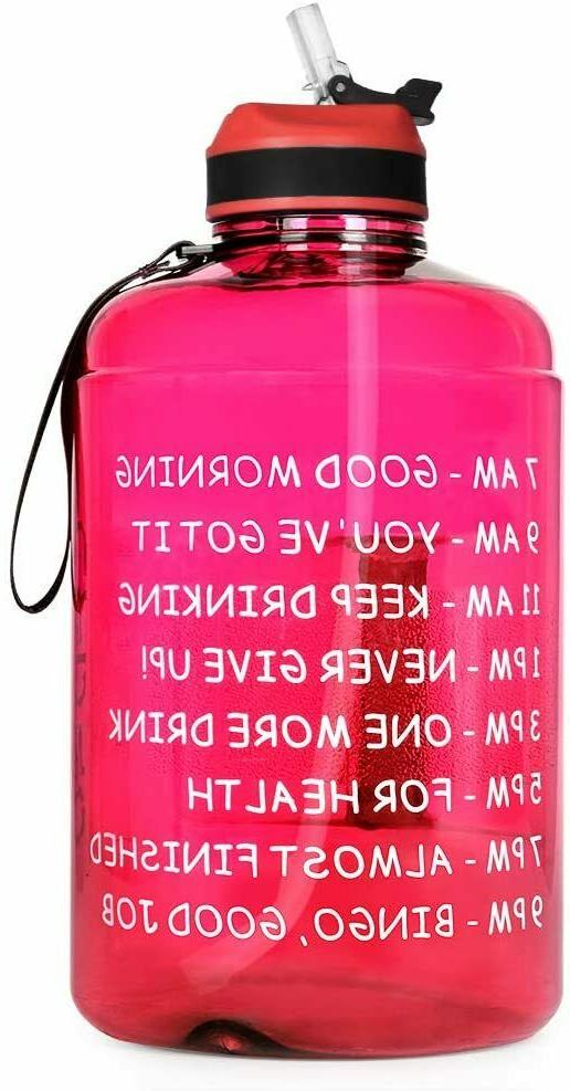 128oz 1 gallon water bottle with time