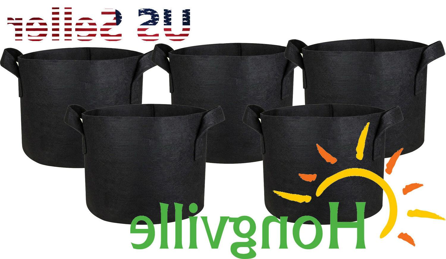 5 pack black grow bags aeration fabric