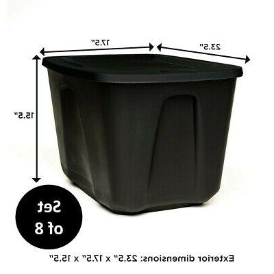 8 Large Plastic Gallon Stackable Bin Lid