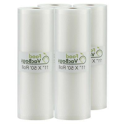 11X50 Rolls FoodVacBags for Foodsaver 4Mil Embossed Vacuum
