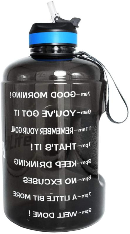 Buildlife Gallon Motivational Water Bottle Wide Mouth With S