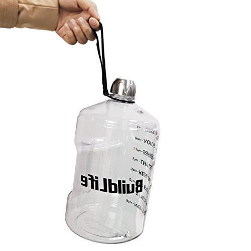 1 Gallon Motivational Fitness Workout Time More Water Daily | BPA-Free | Large Ounce/43OZ Water The