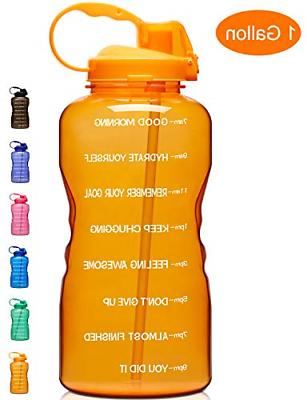 large 1 gallon 128oz motivational water bottle
