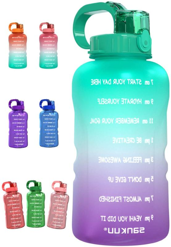 Large 1 Gallon 128Oz Water Bottle Motivational With Time Mar