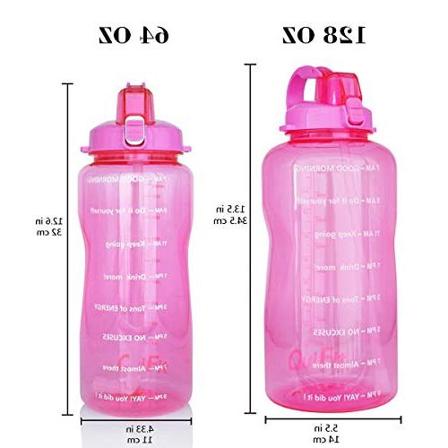 QuiFit Straw Daily Water Bottle Sport Water Jug BPA Design with Marked to You Drink Enough of The Day