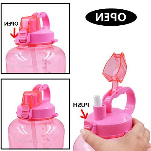 QuiFit 128oz Portable Straw Daily Bottle Sport BPA Free Non Leak Design to Ensure Enough of Water The