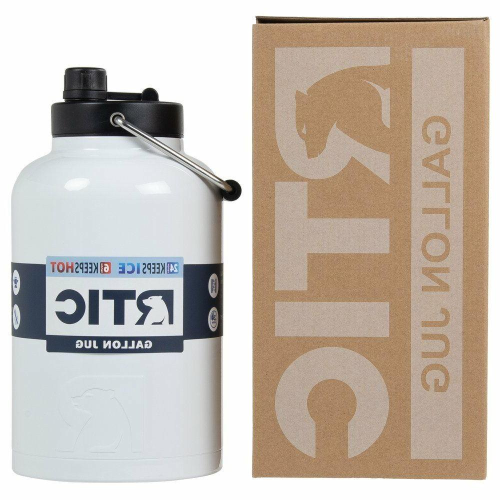 RTIC White 1 Gallon Water Jug / Bottle Insulated Stainless S