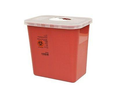 Sharps Needle Disposable Biohazard Container, 2 Gallon, Red,