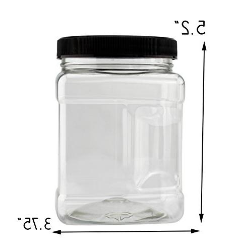 32-Ounce Square Jars ; Clear Canisters Side