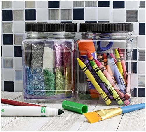 32-Ounce Square Plastic ; Canisters w/Black Lids, Easy-Grip