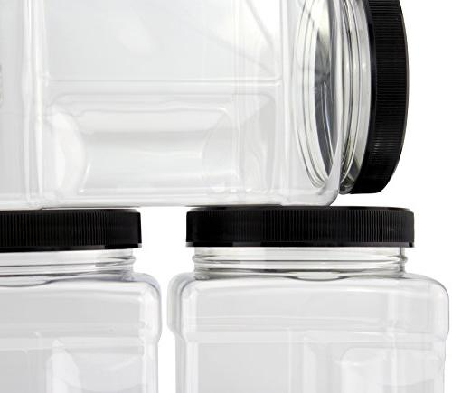 32-Ounce Square ; Clear Canisters w/Black Lids, Side