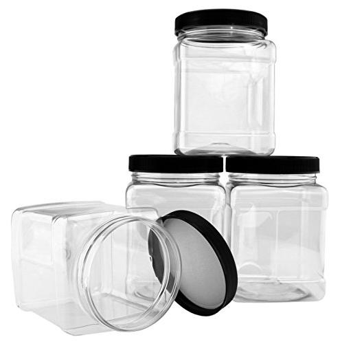 32-Ounce Plastic ; Clear Canisters Easy-Grip Side