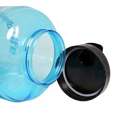 1 Gallon Inspirational Fitness Workout Water Bottle Time Marker for Your H2O Intake, BPA Free Proof Lid