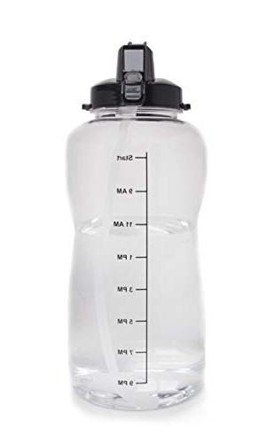 1 Gallon Water Bottle With Straw - Motivational Intake Per Day. Time Goals You Hydrated. BPA Free Water Jug!