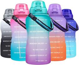 Large 1 Gallon Motivational Water Bottle with Paracord Handl