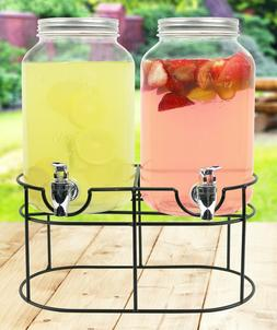 Mason Jar Double Beverage Clear Glass Drink Dispenser 1 Gall