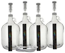 Pack of Four 1 Gallon Glass Jugs with Lids, Airlocks, Thermo