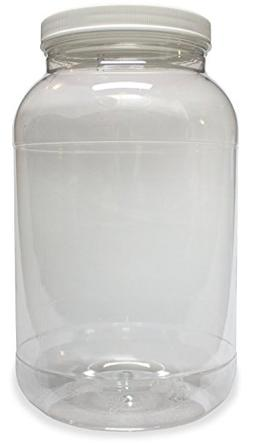 1 Gallon Plastic Jar, Wide Mouth, Clear, with Lined Fresh Se