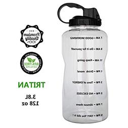 QuiFit 128oz Portable Drinking Straw Daily Water Bottle Spor