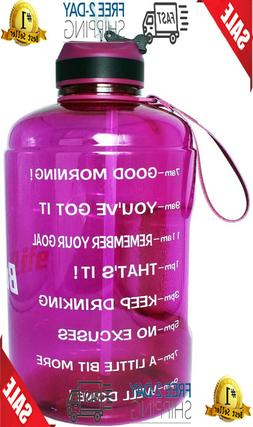 ¬QuiFit 1 Gallon Water Bottle With Straw Motivational Time