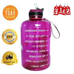 QuiFit 1 Gallon Water Bottle With Straw Motivational Time Ma