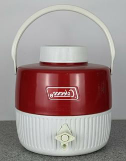 Vintage 1973 Coleman Red White 1 Gallon Water Cooler Jug ~ w
