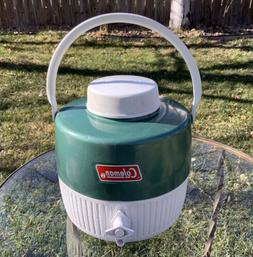 Vintage Coleman Jug 1-Gallon Green White w/ Cup Cool Water D