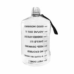 Water Bottle Motivational Fitness Workout Time Marker 1 Gall