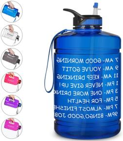 Water Bottle Time Marker Straw And Handle 128oz 1 Gallon BPA
